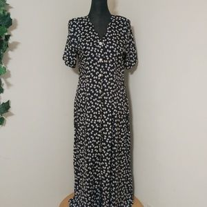 VTG Bow Tie Print Button Down Belted  Maxi…